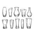 vase set sketch 2 vector image vector image