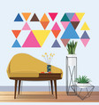 vintage living room idea vector image vector image