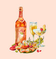 vintage watercolor with champagne or wine two vector image vector image