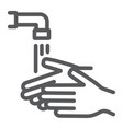 wash your hands line icon wash and hygiene vector image vector image