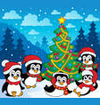 winter theme with penguins 3 vector image