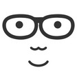 nerd face flat icon vector image