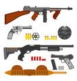 guns flat set machine gun thompson rifle revolver vector image