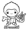 black and white apollo mascot the god of the sun vector image