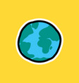 cartoon sticker with earth planet vector image