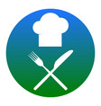 chef with knife and fork sign white icon vector image