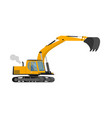 closeup orange construction excavator with big vector image