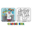 coloring book of funny chemist or scientist vector image vector image