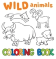 Coloring book with wild animals vector image vector image