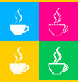 cup of coffee sign four styles of icon on four vector image