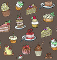 cupcakes seamless pattern sketch style on vector image