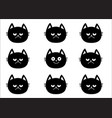 cute black cat set emotion collection happy vector image