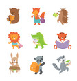 cute school animals bear and fox lion vector image vector image