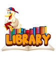 font design for word library with duck reading vector image