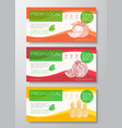 fresh fruits label templates set abstract vector image