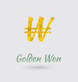 Golden Won Symbol vector image vector image