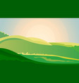 green landscape field dawn above hills with grass vector image vector image