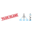 grunge tilos island line stamp and collage space vector image vector image