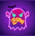 halloween neon sign with angry ghost boo vector image