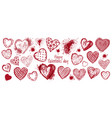 hand drawn doodle heart banner valentines day vector image vector image