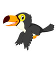 happy bird toucan flying vector image vector image