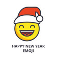 happy new year emoji line icon sign vector image vector image