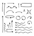isolated hand drawn arrows set on a white vector image vector image