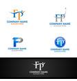 letter f p for digital logo marketing financial vector image vector image