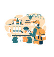 man in grocery store vector image