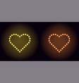 neon dot heart in yellow and orange color vector image vector image