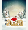 new year holiday background with 2020 and santa vector image vector image