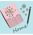 Notebook and crayon background vector image