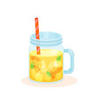 orange cocktail with ice cubes in a mason jar mug vector image