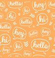 orange white hello speech bubble seamless vector image vector image