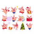 pig set in different situations vector image