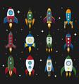 retro space rocket ship icon set in a flat vector image vector image