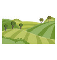 rural landscape with hills and fields - summer vector image vector image