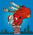 santa claus with champagne climbs the chimney vector image vector image