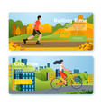 set banners with riding girl and man vector image vector image