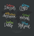 set hand drawn lettering country and capital vector image