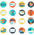 set of seo icon marketing online development and vector image