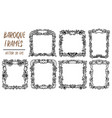 set with black and white baroque frames vector image