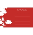Silhouette of bird and tree valentine card vector image