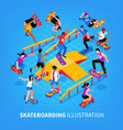 skateboarding isometric background composition vector image vector image