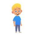 smiling cute boy blond in blue shirt vector image
