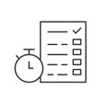 stopwatch and document with checklist or vector image