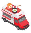 sushi truck icon isometric style vector image