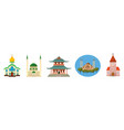 temple icon set cartoon style vector image