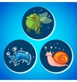 Three fantastic animals icons vector image vector image