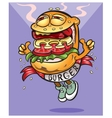 Very tasty cheerful hamburger goes to you vector image vector image